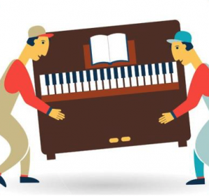 Two cartoon guys carrying a piano